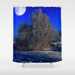 snow and moon Shower Curtain