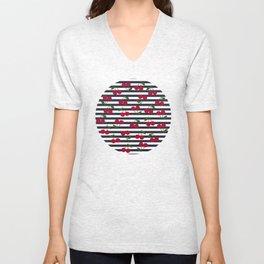 Cherry stripe pattern Unisex V-Neck