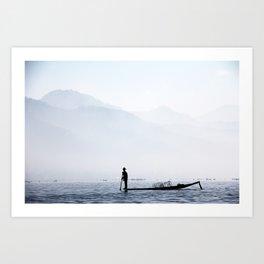 Fisherman in Myanmar Art Print