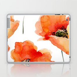 Modern hand painted orange watercolor poppies pattern Laptop & iPad Skin