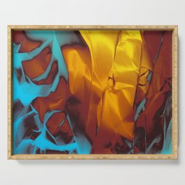 Cruising to Calisto. Orange and Teal Abstract. Serving Tray