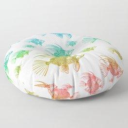A School of Rainbow Fish Floor Pillow