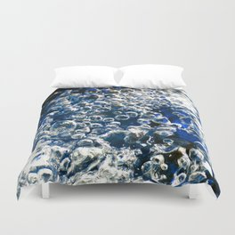 Blue Bubbles Macro photography River stream underwater abstract art bright bold vibrant color! Duvet Cover
