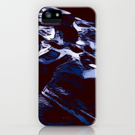 Black and white blue marbling abstract background iPhone Case