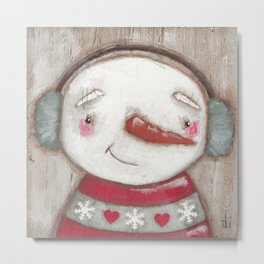 Big Happy Faces - Snowman Metal Print