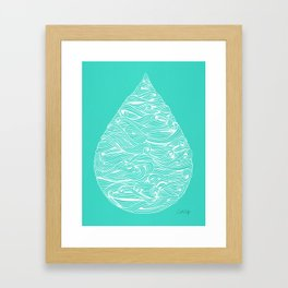 Water Drop – White on Turquoise Framed Art Print