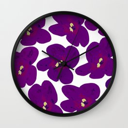Purple Retro Flowers #decor #society6 #buyart Wall Clock
