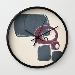 Retro Abstract Design in Mulberry and Peninsula Blue Wall Clock