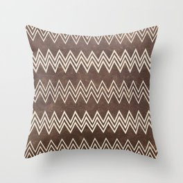 Vintage brown white rustic faux leather chevron Throw Pillow