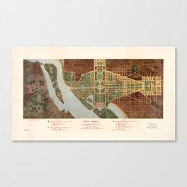 The Mall, Washington D.C. Map (1915) Canvas Print