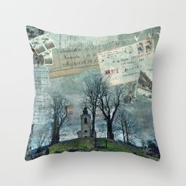 A Village Church on the Top of the Hill Throw Pillow