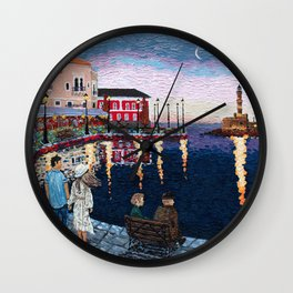 Greece: A Night in Chania, Crete Wall Clock