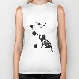 Cat blowing molecule bubbles Biker Tank