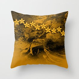 Orange flowers in an abstract grunge landscape Throw Pillow