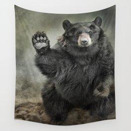 Black Bear Greeting Wall Tapestry