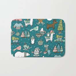 Holly Jolly Christmas Pattern, Holiday Decor, Blue Christmas, Fa la llama, Hand Drawn Illustrations Bath Mat