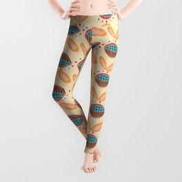 Mid Century Beige Floral Pattern Leggings