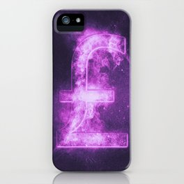 Pound sterling sign, Pound sterling Symbol. Monetary currency symbol. Abstract night sky background. iPhone Case