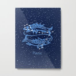 Pisces Constellation and Zodiac Sign with Stars Metal Print
