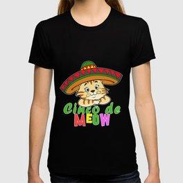 Cute Cinco De Meow Funny Cat Sombrero Mexican print T-shirt