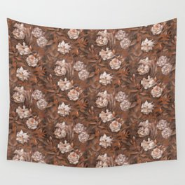 White roses in earth shades Wall Tapestry