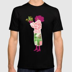 Floral Coat Pink MEDIUM Black Mens Fitted Tee