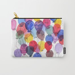 girl with balloons whimsical watercolor illustration Carry-All Pouch