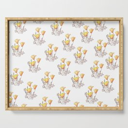 California Poppies, Watercolor Poppy Surface Pattern Design Serving Tray