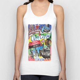 Chicago Watercolor Collage Unisex Tank Top