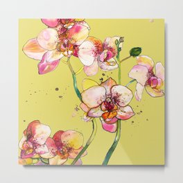 Pink Orchids in Yellow Metal Print