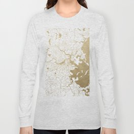 Boston White and Gold Map Long Sleeve T-shirt