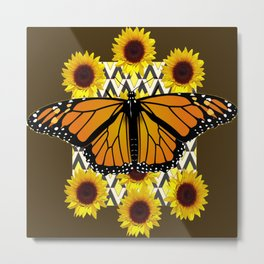 COFFEE COLOR SUNFLOWERS & MONARCH BUTTERFLY Metal Print