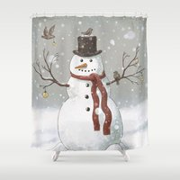 christmas Shower Curtains featuring Christmas Snowman  by Terry Fan