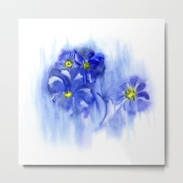 Watercolor illustration. The composition of delicate flowers. Metal Print