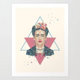 Pastel Frida - Geometric Portrait with Triangles Art Print