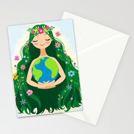 Beautiful Flowing Flower Earth Mother Figure Stationery Cards