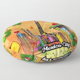 Mexico City Popart by Nico Bielow Floor Pillow