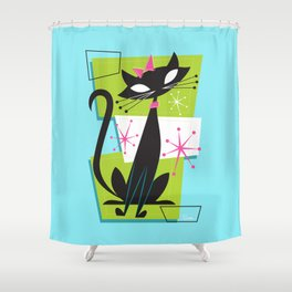 Atomic Princess Cat Shower Curtain