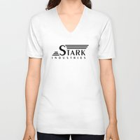 stark V-neck T-shirts featuring Stark Industries by jasonschaefer