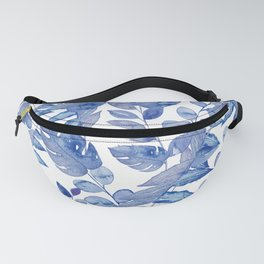 Palmleaves and monstera leaves watercolor painting - classic blue Fanny Pack
