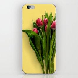 Yellow Bright Light Amber Pink Tulip Blossoms Flatlay iPhone Skin