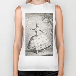 The Dancers, 18th century French ballet woman, black white drawing Biker Tank