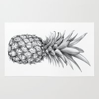 pineapple Area & Throw Rugs featuring Pineapple by Sibling & Co.