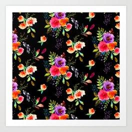 Bright Watercolor Flowers on Black | Neon Floral | Renee Davis Art Print
