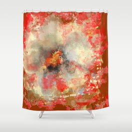 White Flower in Red Decoration Shower Curtain