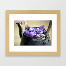Teapot and Flowers Framed Art Print