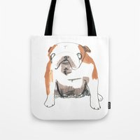 bulldog Tote Bags featuring Bulldog by jo clark
