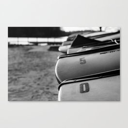 Beached Canoes Black and White Abstract Photograph Canvas Print