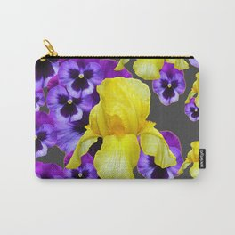GREY  PATTERN YELLOW IRIS PURPLE PANSY Carry-All Pouch
