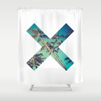 palm trees Shower Curtains featuring Palm Trees by Zavu